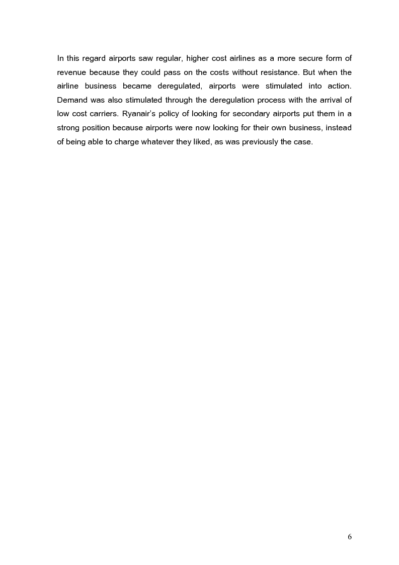 Anteprima della tesi: The role of secondary airports after air service market deregulation and the phenomena of low-cost airlines. Case study: Ronchi dei Legionari, Pagina 5