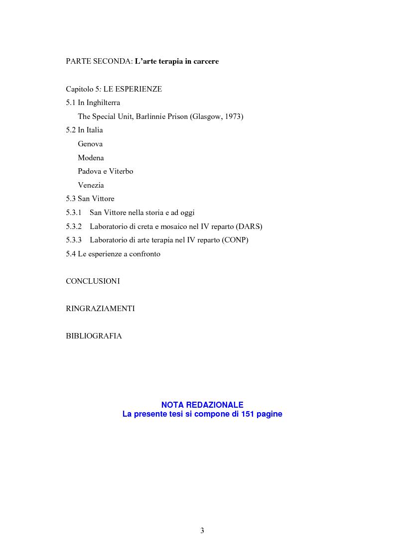 Indice della tesi: L'arte terapia in carcere: valenze terapeutiche e risocializzanti, Pagina 2