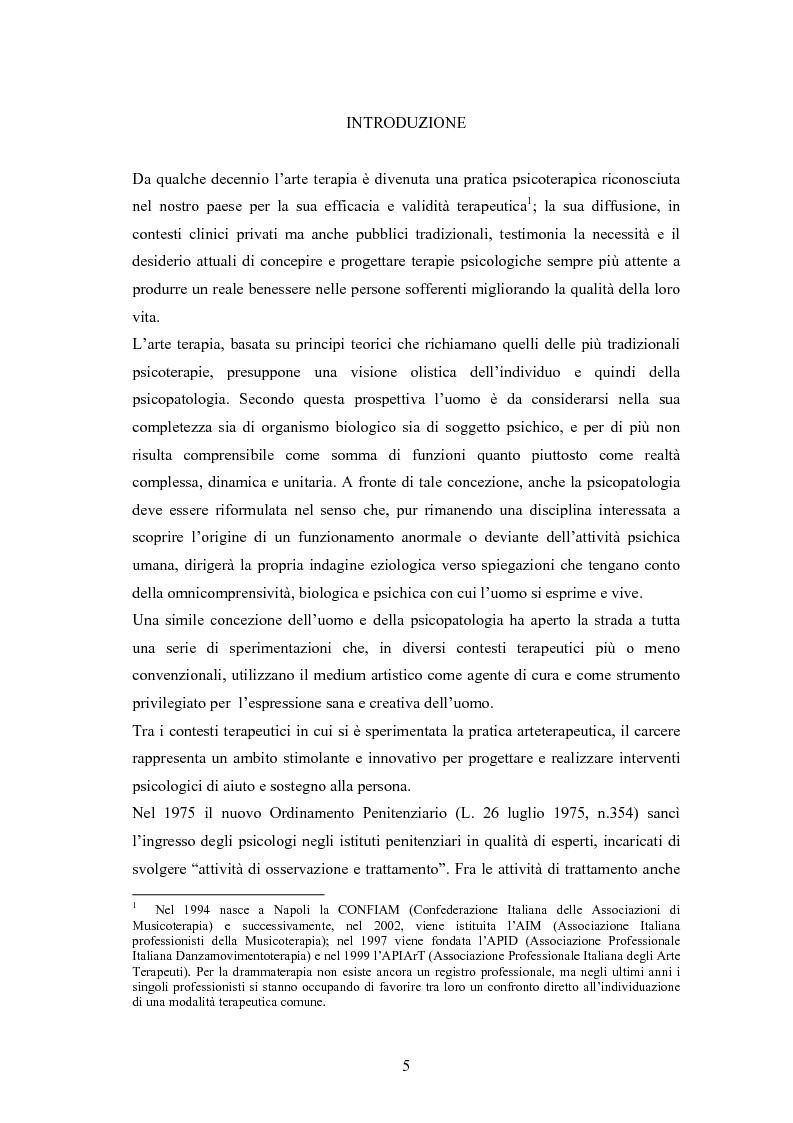 Anteprima della tesi: L'arte terapia in carcere: valenze terapeutiche e risocializzanti, Pagina 1
