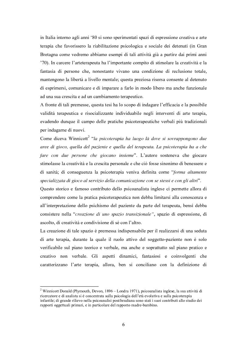 Anteprima della tesi: L'arte terapia in carcere: valenze terapeutiche e risocializzanti, Pagina 2