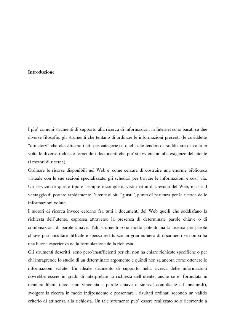 Anteprima della tesi: Il sistema EDGES: un sistema distribuito di agenti per la ricerca ed il filtraggio di informazioni in Internet, Pagina 1