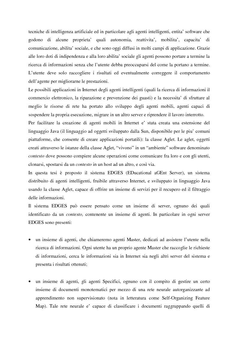 Anteprima della tesi: Il sistema EDGES: un sistema distribuito di agenti per la ricerca ed il filtraggio di informazioni in Internet, Pagina 2
