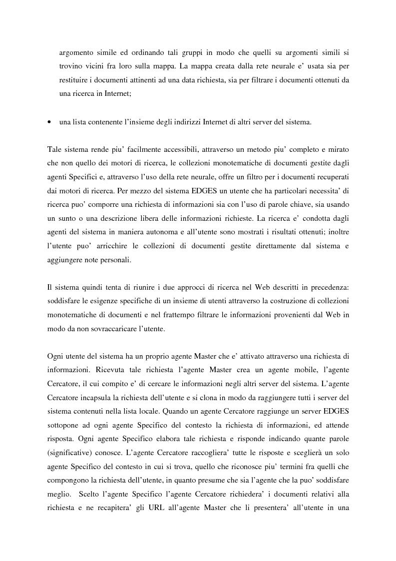 Anteprima della tesi: Il sistema EDGES: un sistema distribuito di agenti per la ricerca ed il filtraggio di informazioni in Internet, Pagina 3