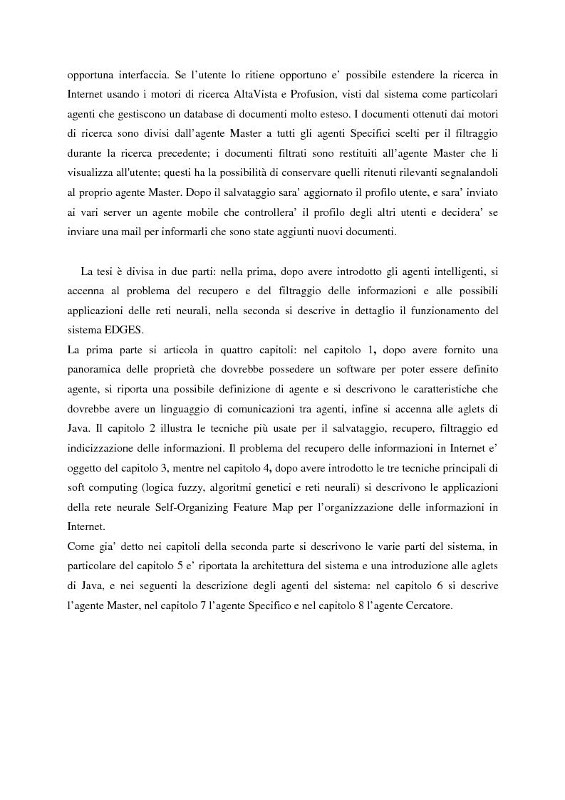 Anteprima della tesi: Il sistema EDGES: un sistema distribuito di agenti per la ricerca ed il filtraggio di informazioni in Internet, Pagina 4