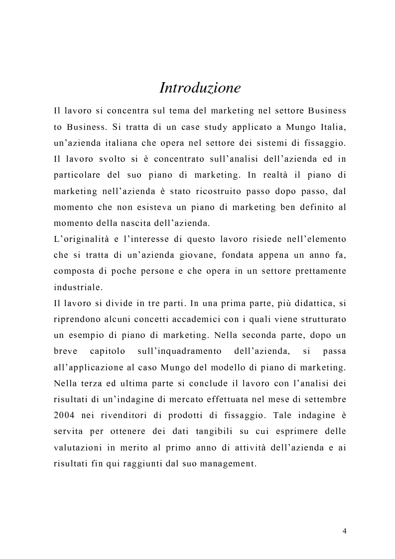 Anteprima della tesi: Il piano di Marketing: sviluppo e attuazione - Il caso Mungo, Pagina 1