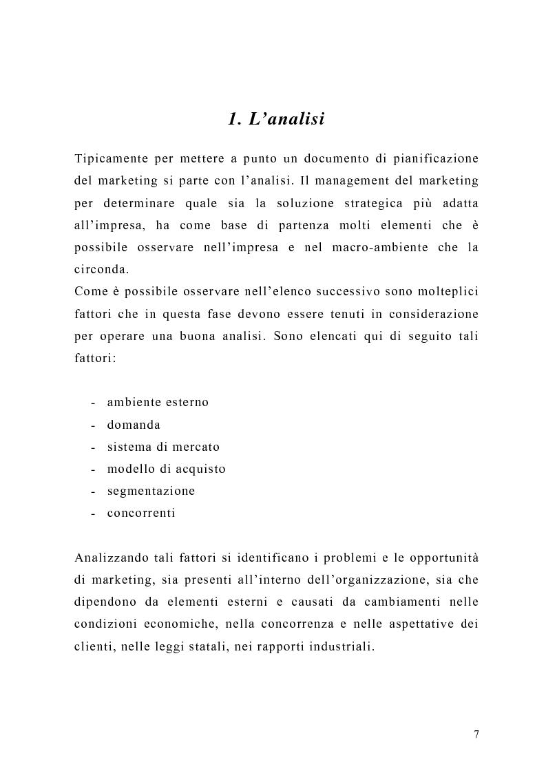 Anteprima della tesi: Il piano di Marketing: sviluppo e attuazione - Il caso Mungo, Pagina 4