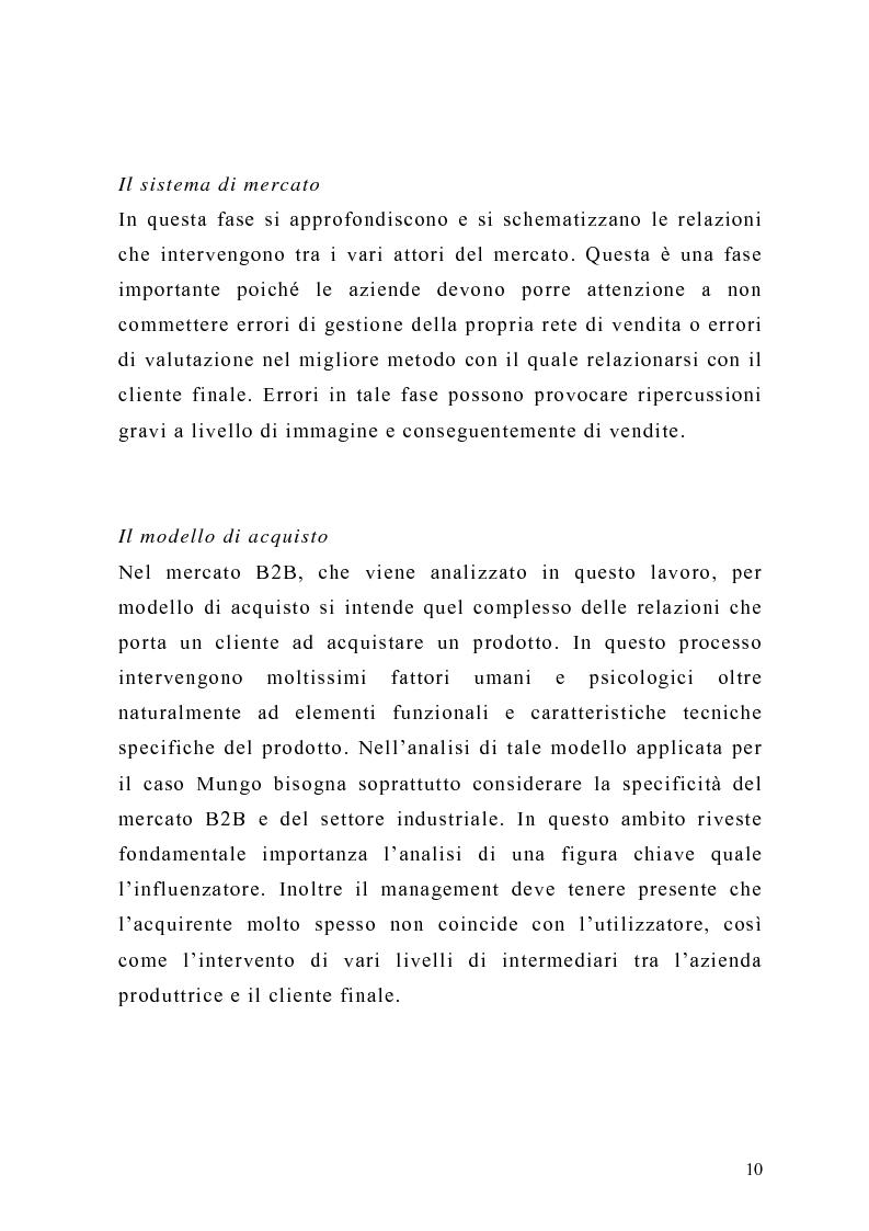 Anteprima della tesi: Il piano di Marketing: sviluppo e attuazione - Il caso Mungo, Pagina 7