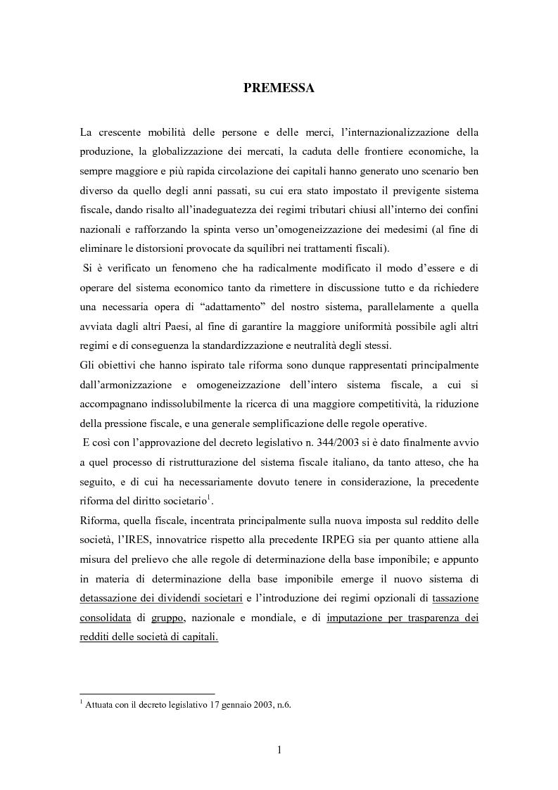 Anteprima della tesi: Dal nuovo principio dell'esenzione nella tassazione dei dividendi al regime opzionale della trasparenza fiscale. Scelte di convenienza., Pagina 1