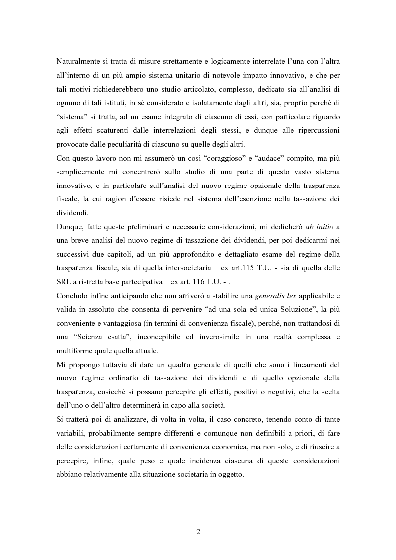 Anteprima della tesi: Dal nuovo principio dell'esenzione nella tassazione dei dividendi al regime opzionale della trasparenza fiscale. Scelte di convenienza., Pagina 2