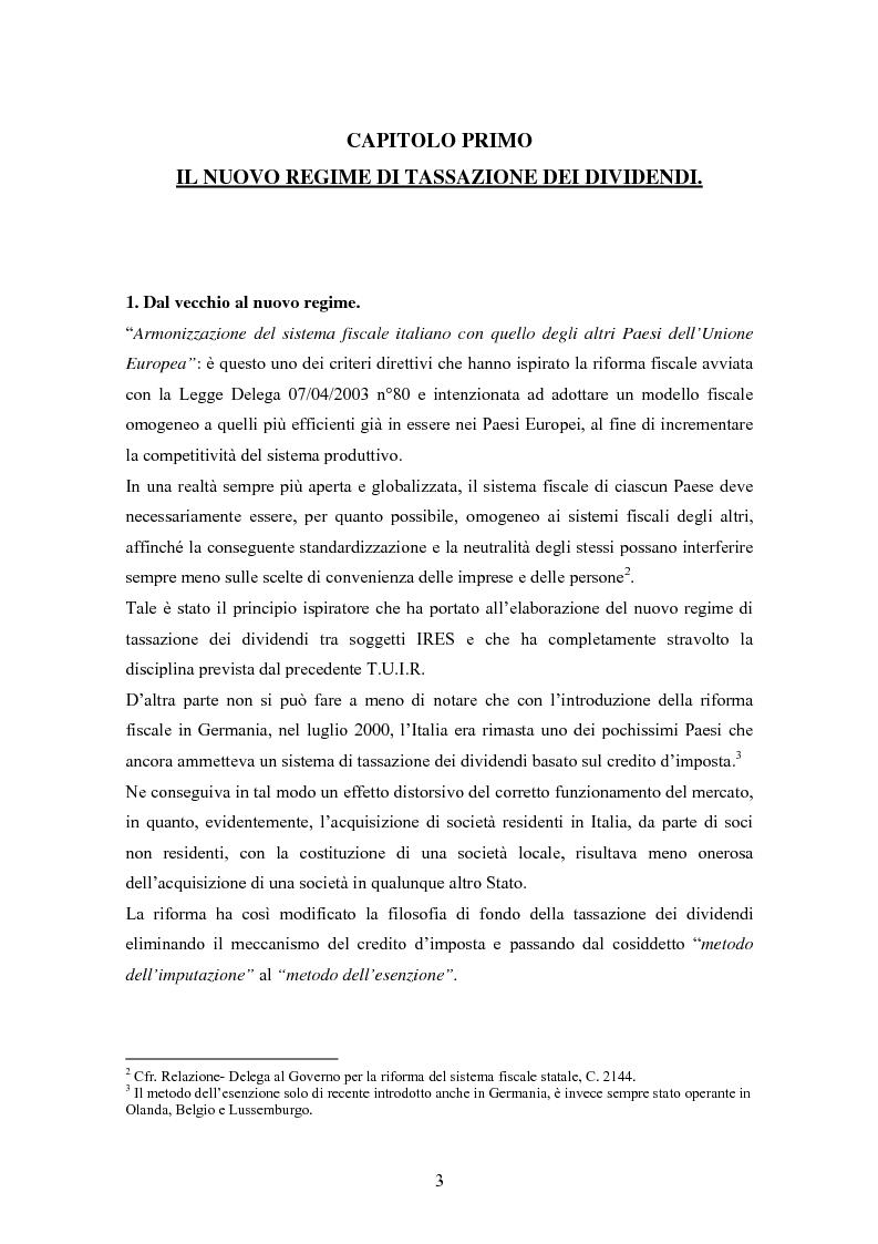 Anteprima della tesi: Dal nuovo principio dell'esenzione nella tassazione dei dividendi al regime opzionale della trasparenza fiscale. Scelte di convenienza., Pagina 3