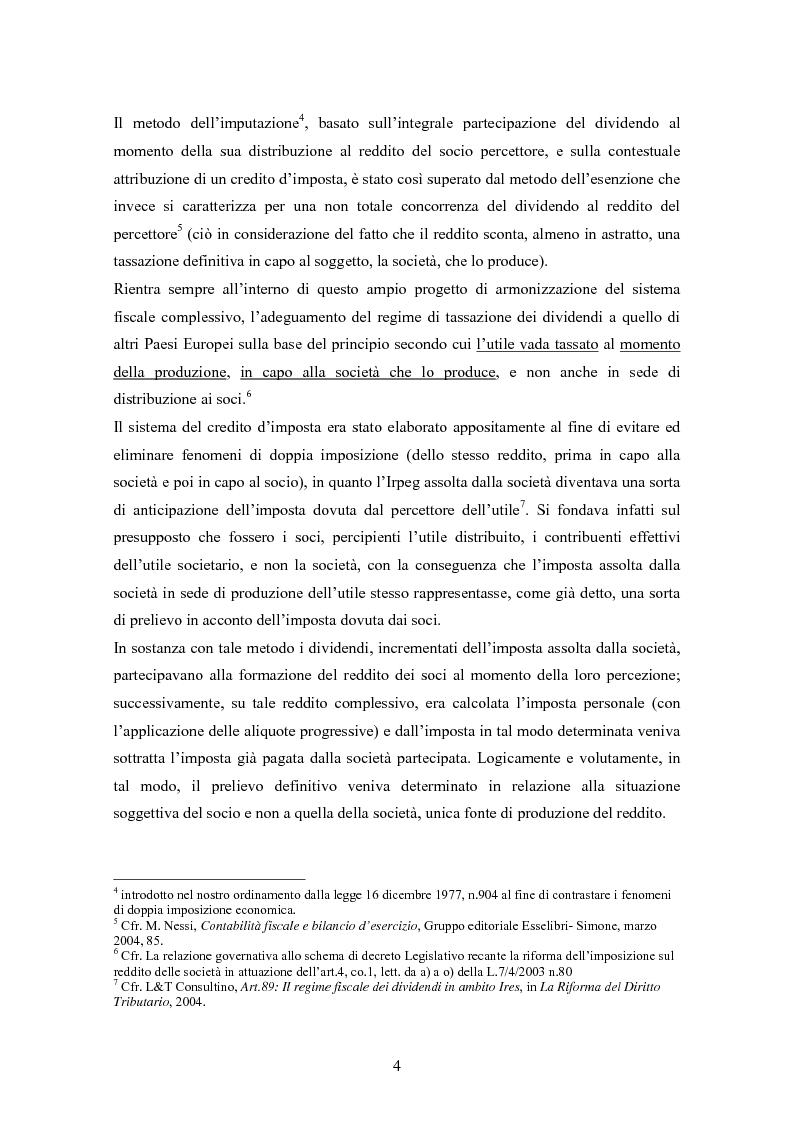 Anteprima della tesi: Dal nuovo principio dell'esenzione nella tassazione dei dividendi al regime opzionale della trasparenza fiscale. Scelte di convenienza., Pagina 4