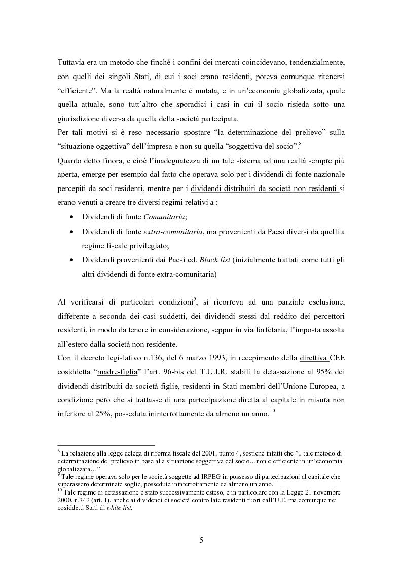 Anteprima della tesi: Dal nuovo principio dell'esenzione nella tassazione dei dividendi al regime opzionale della trasparenza fiscale. Scelte di convenienza., Pagina 5
