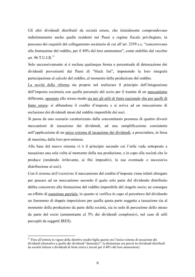 Anteprima della tesi: Dal nuovo principio dell'esenzione nella tassazione dei dividendi al regime opzionale della trasparenza fiscale. Scelte di convenienza., Pagina 6