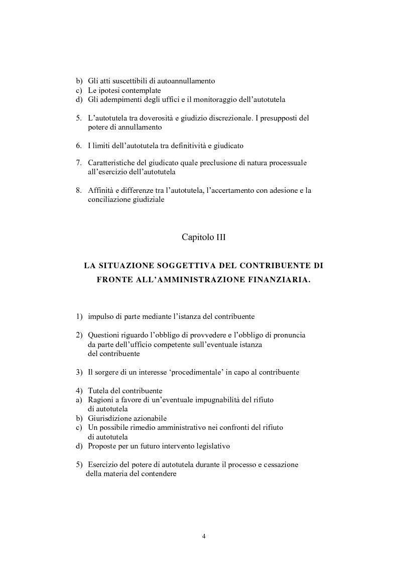 Indice della tesi: L'autotutela nel diritto tributario con particolare riguardo alla posizione soggettiva del contribuente, Pagina 2