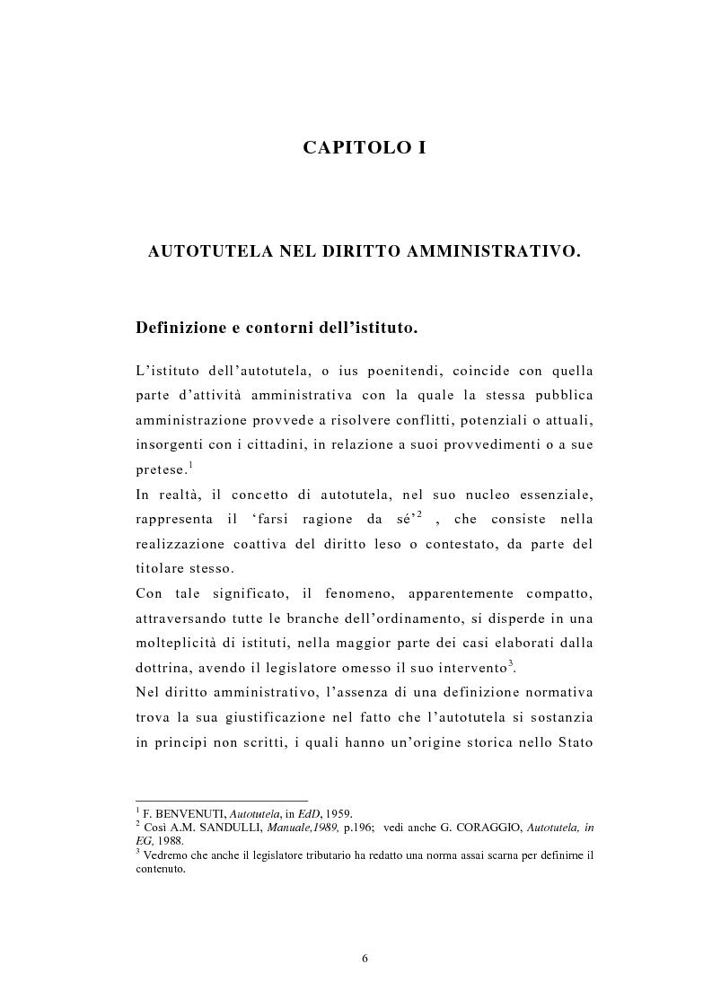 Anteprima della tesi: L'autotutela nel diritto tributario con particolare riguardo alla posizione soggettiva del contribuente, Pagina 1