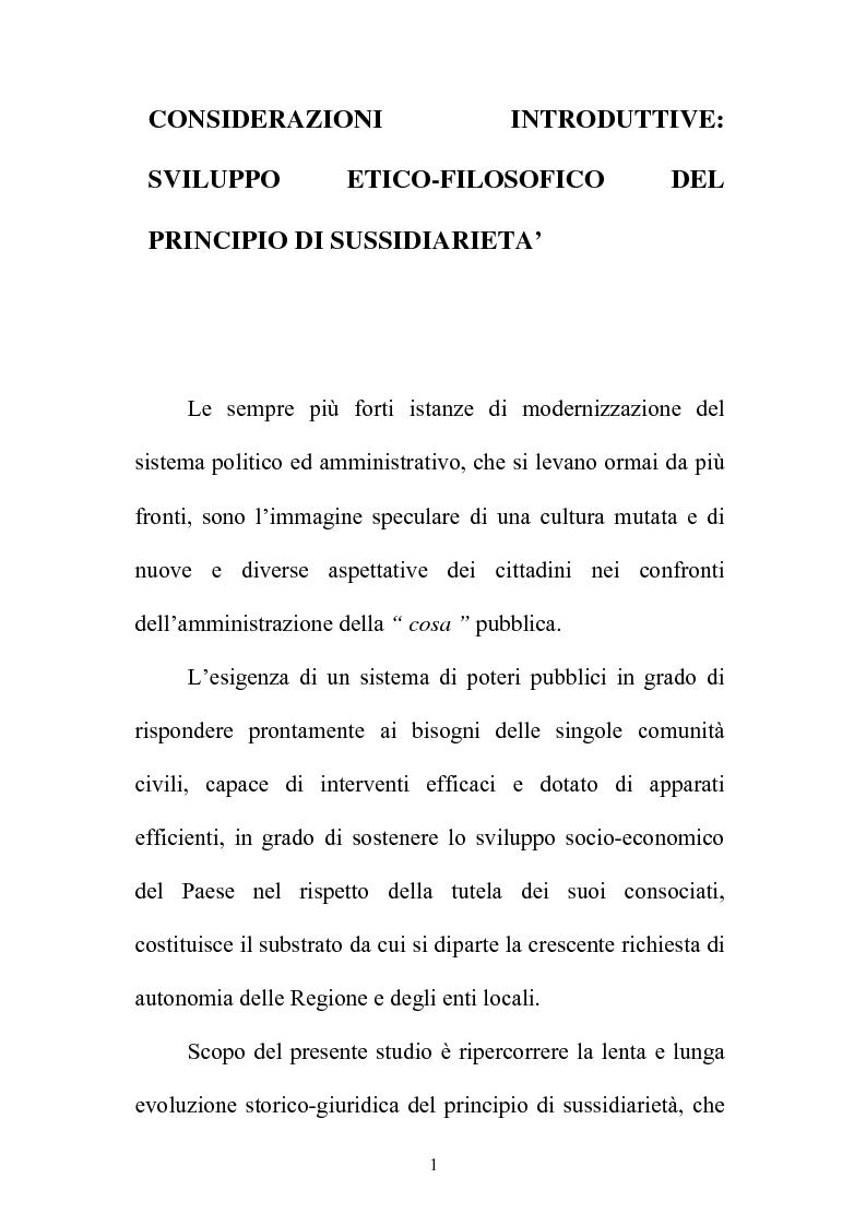 Anteprima della tesi: Il principio di sussidiarietà nel sistema delle autonomie locali, Pagina 1