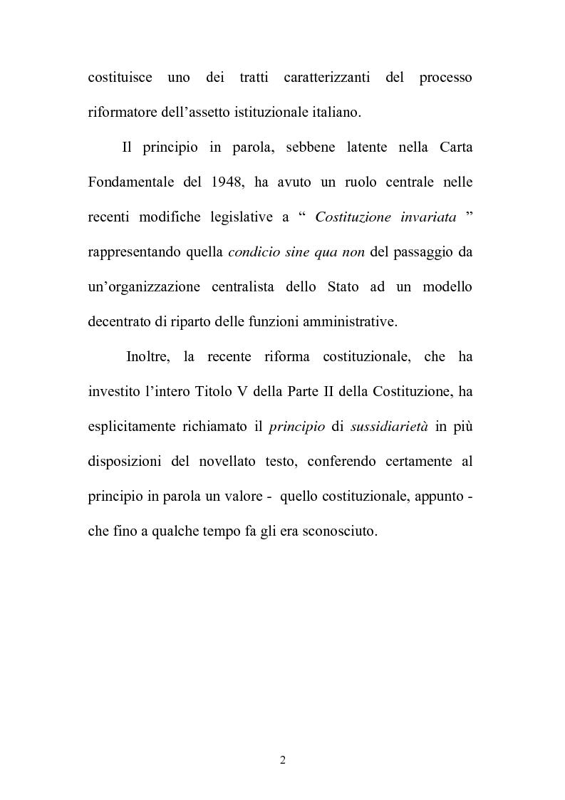 Anteprima della tesi: Il principio di sussidiarietà nel sistema delle autonomie locali, Pagina 2