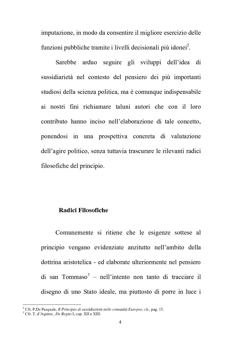 Anteprima della tesi: Il principio di sussidiarietà nel sistema delle autonomie locali, Pagina 4