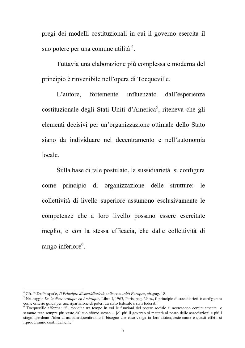 Anteprima della tesi: Il principio di sussidiarietà nel sistema delle autonomie locali, Pagina 5