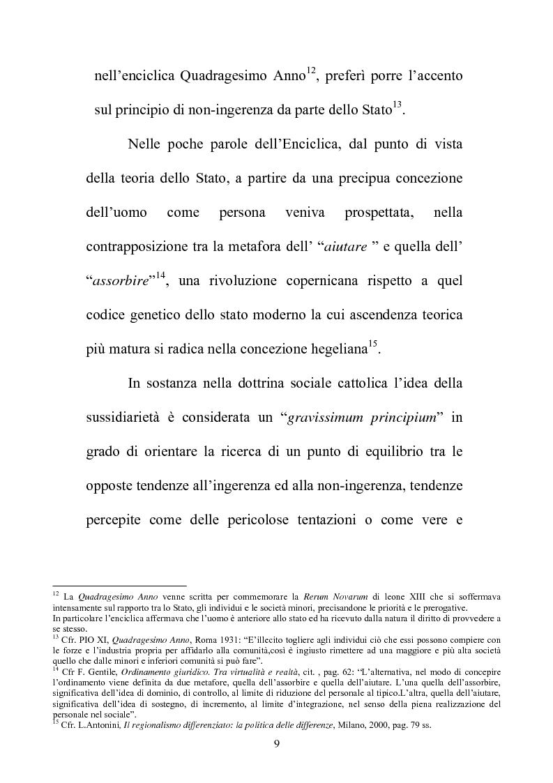 Anteprima della tesi: Il principio di sussidiarietà nel sistema delle autonomie locali, Pagina 9
