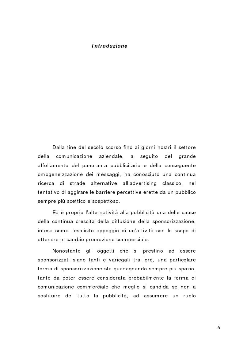 Anteprima della tesi: La sponsorizzazione di eventi musicali: un efficace strumento di comunicazione commerciale, Pagina 1