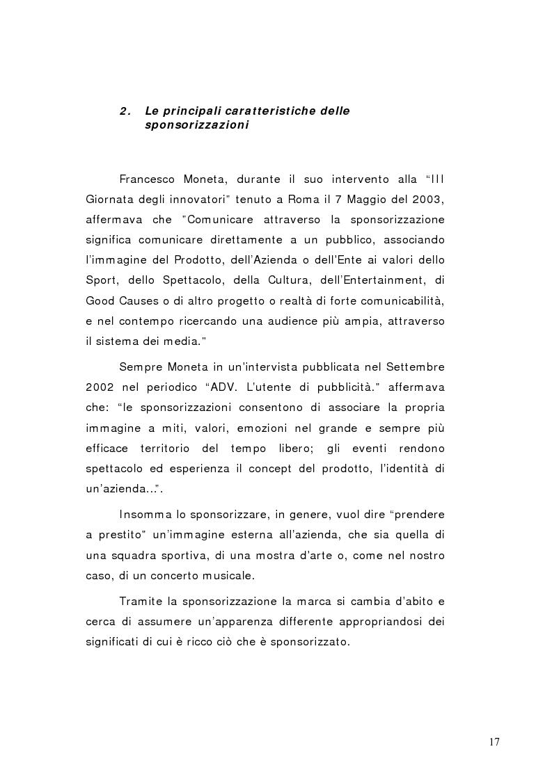 Anteprima della tesi: La sponsorizzazione di eventi musicali: un efficace strumento di comunicazione commerciale, Pagina 12