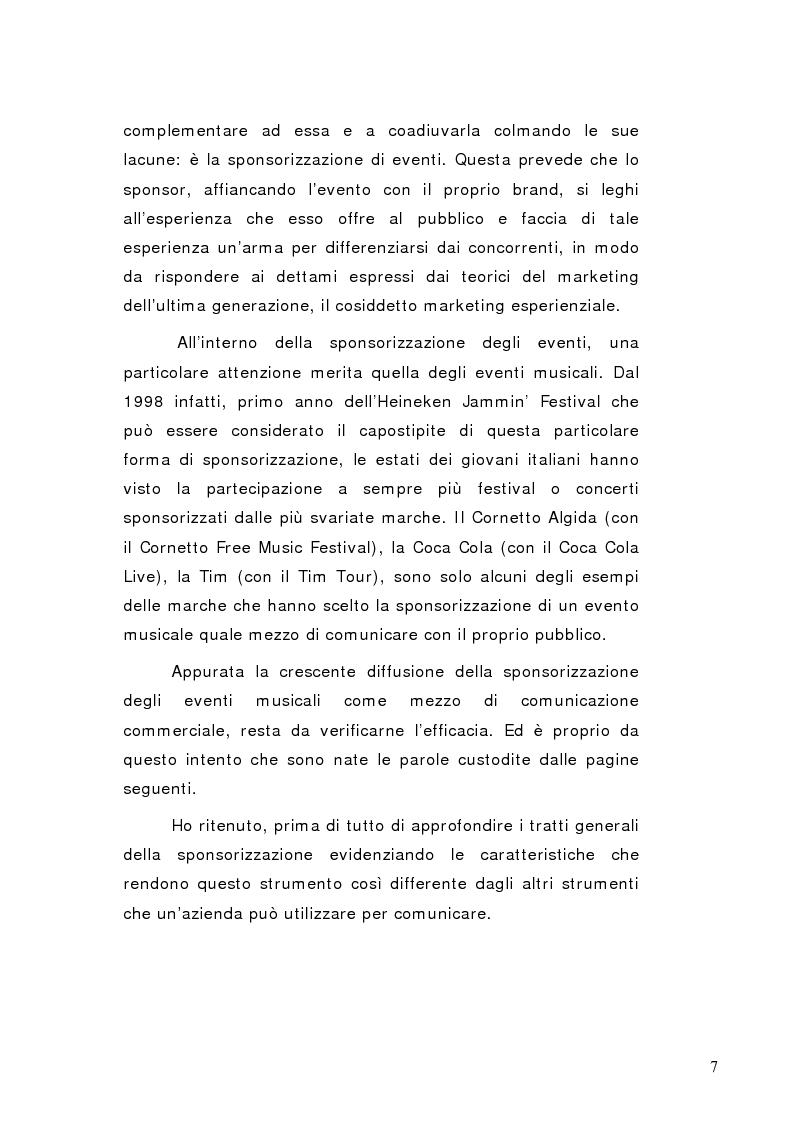Anteprima della tesi: La sponsorizzazione di eventi musicali: un efficace strumento di comunicazione commerciale, Pagina 2