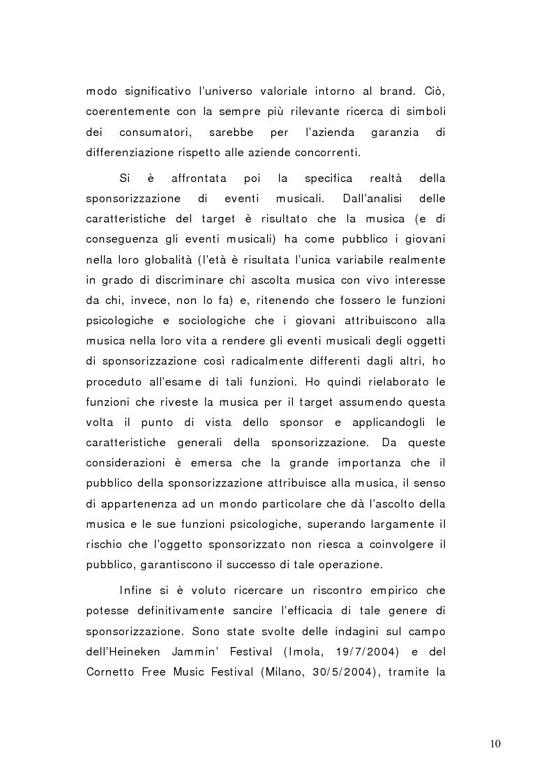 Anteprima della tesi: La sponsorizzazione di eventi musicali: un efficace strumento di comunicazione commerciale, Pagina 5