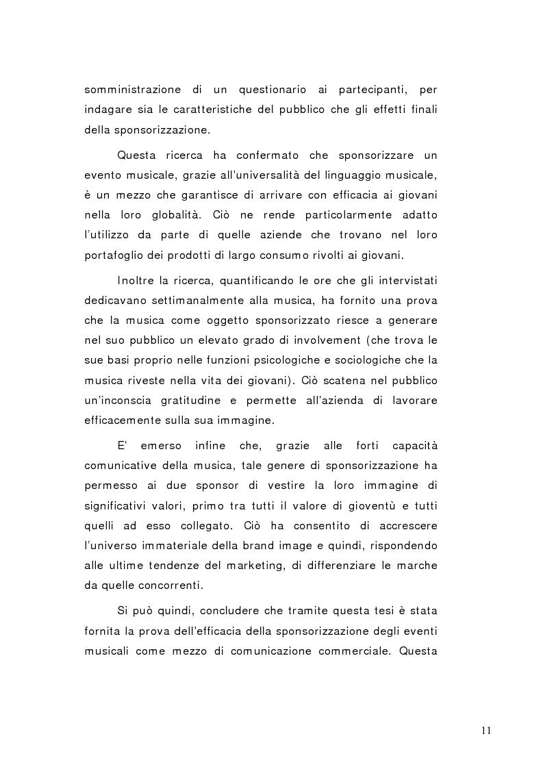 Anteprima della tesi: La sponsorizzazione di eventi musicali: un efficace strumento di comunicazione commerciale, Pagina 6
