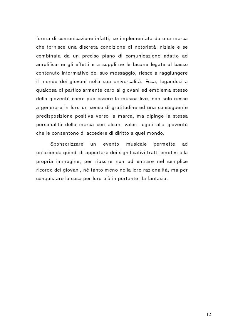 Anteprima della tesi: La sponsorizzazione di eventi musicali: un efficace strumento di comunicazione commerciale, Pagina 7