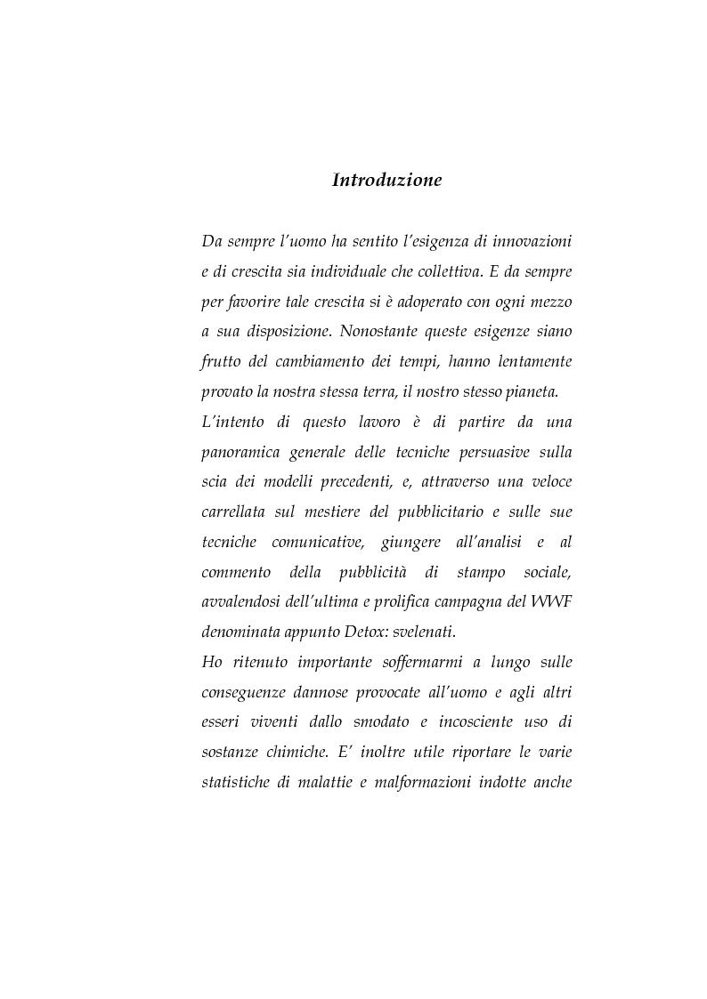 Anteprima della tesi: La pubblicità sociale: WWF e il caso DETOX, Pagina 1