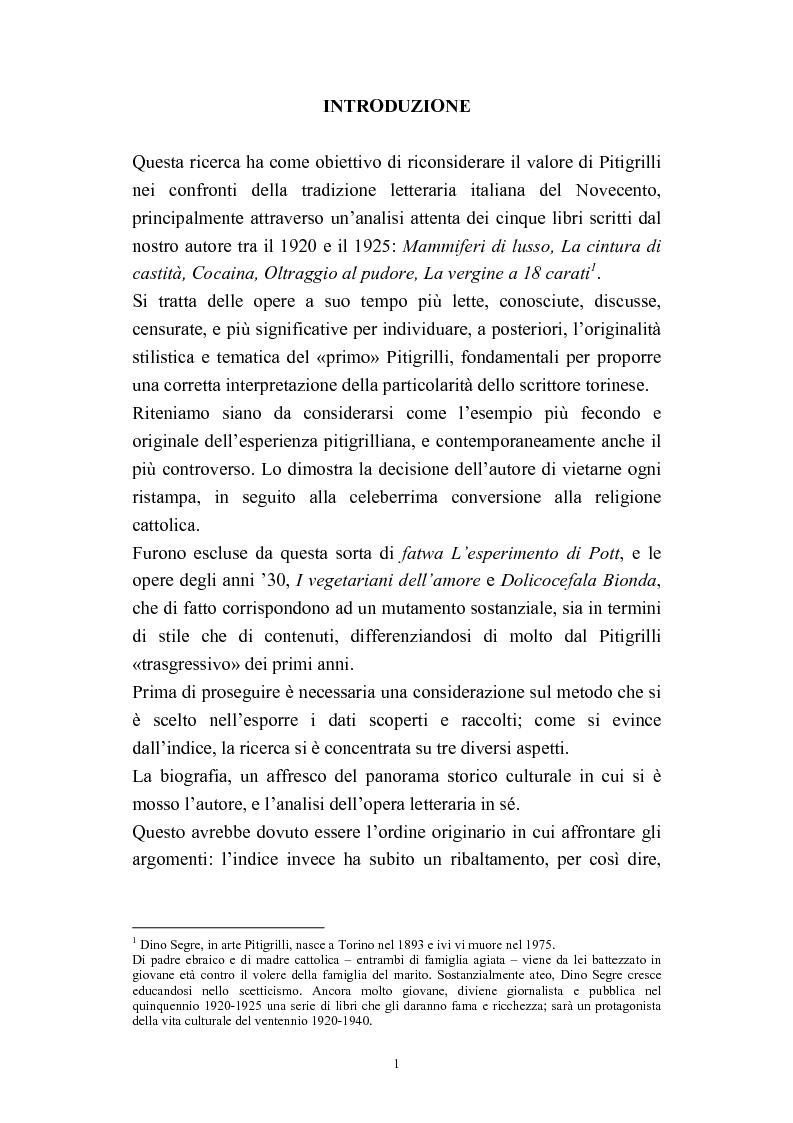 Anteprima della tesi: A onor del vero. Pitigrilli: scrittore anti sublime. Viaggio nella vita e nelle opere di un autore controverso, Pagina 1