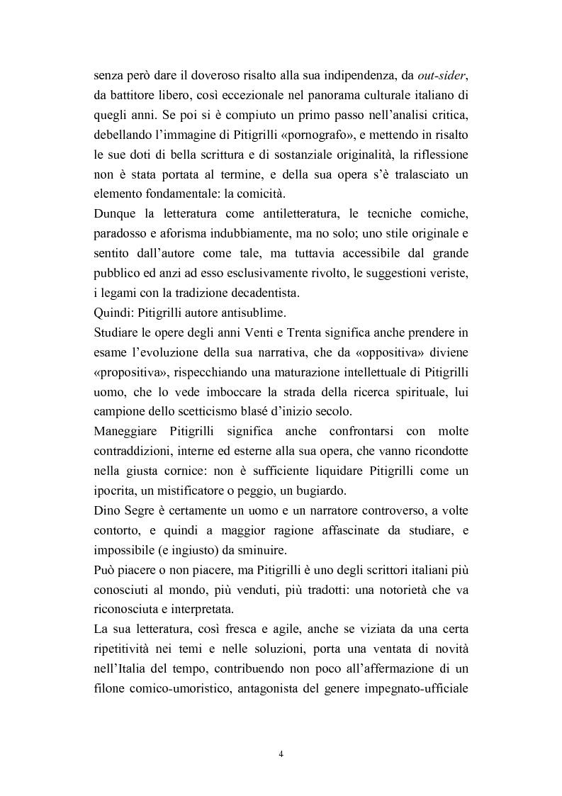 Anteprima della tesi: A onor del vero. Pitigrilli: scrittore anti sublime. Viaggio nella vita e nelle opere di un autore controverso, Pagina 4