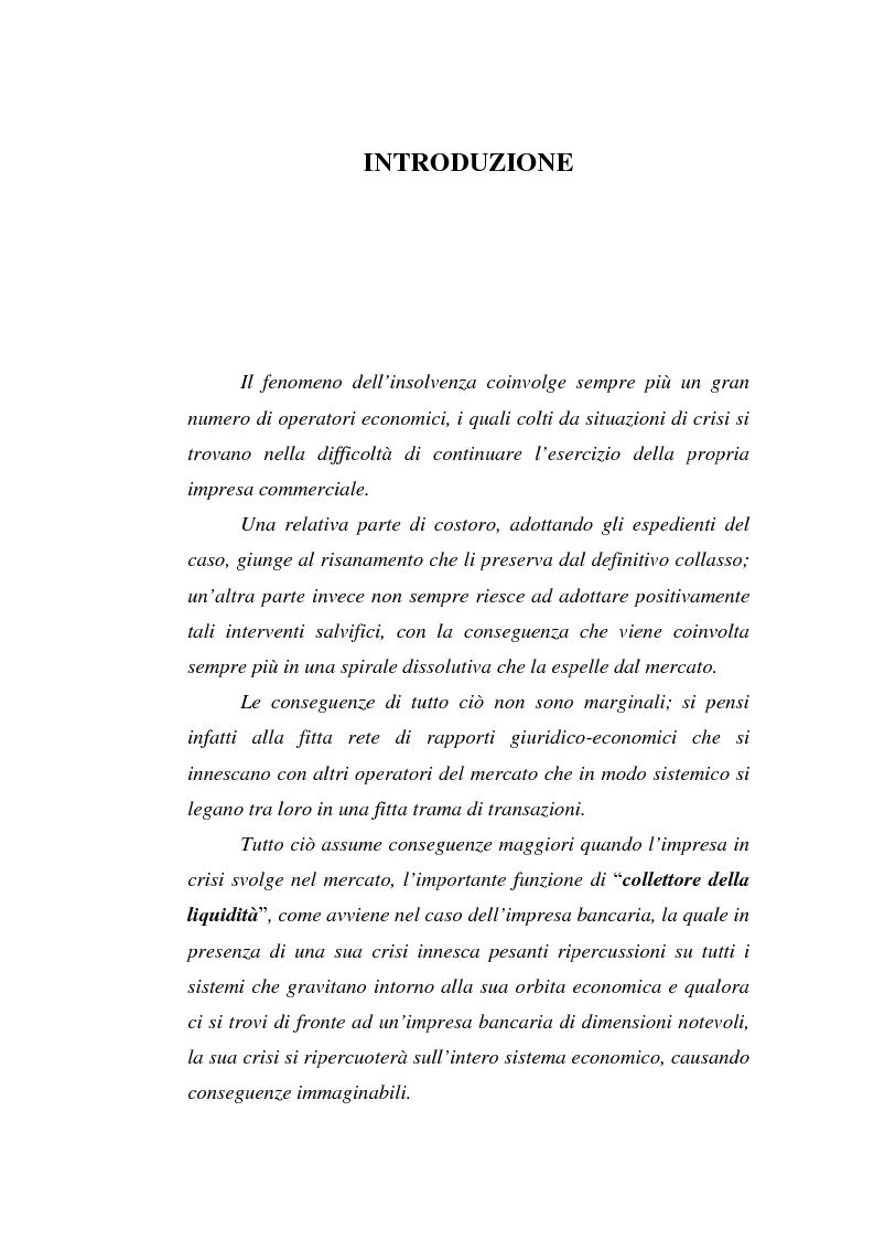 Anteprima della tesi: L'Insolvenza dell'Ente Creditizio: Peculiarità e Specificità rispetto all'Insolvenza dell'Imprenditore Ordinario, Pagina 1