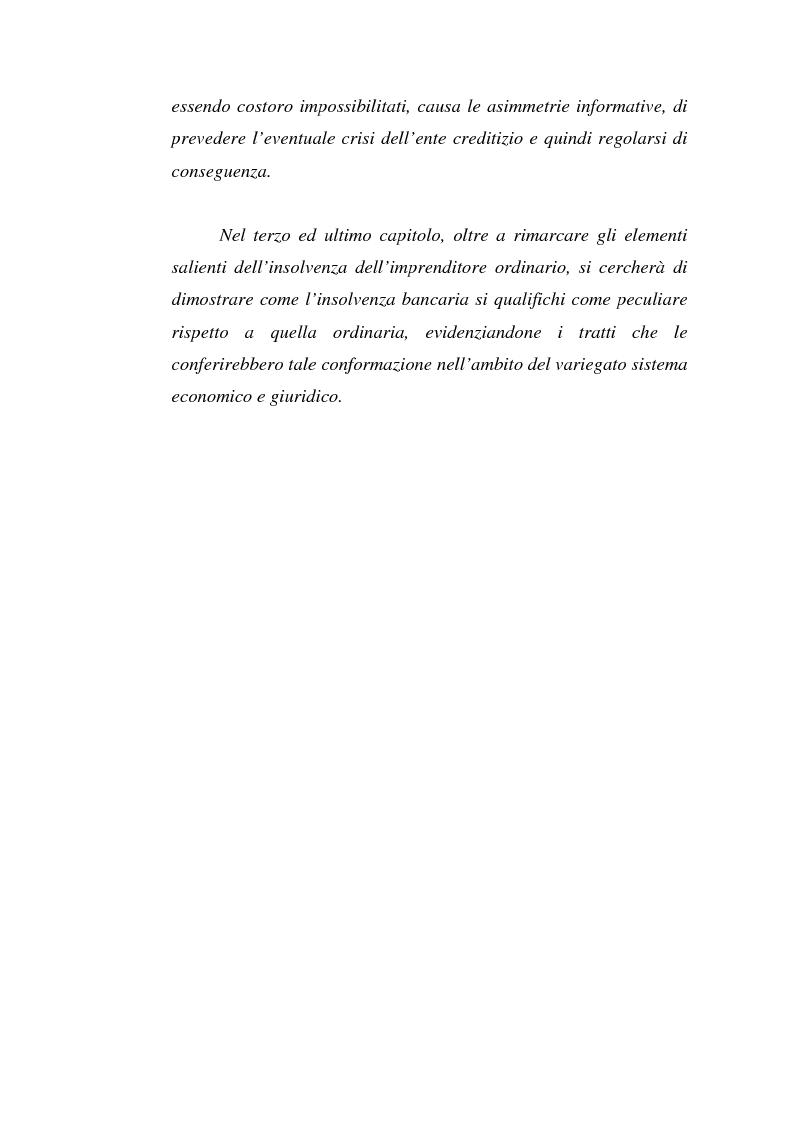 Anteprima della tesi: L'Insolvenza dell'Ente Creditizio: Peculiarità e Specificità rispetto all'Insolvenza dell'Imprenditore Ordinario, Pagina 3