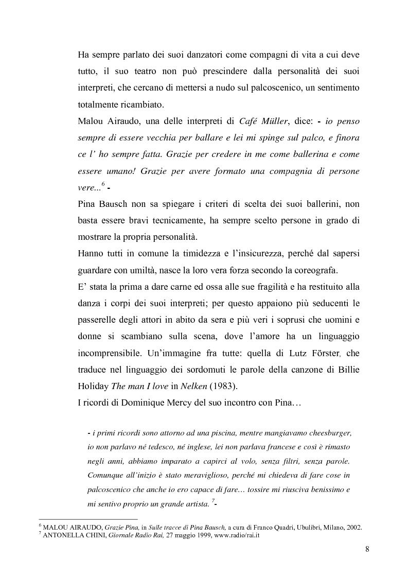 Anteprima della tesi: Café Muller di Pina Bausch. Analisi critica, Pagina 6