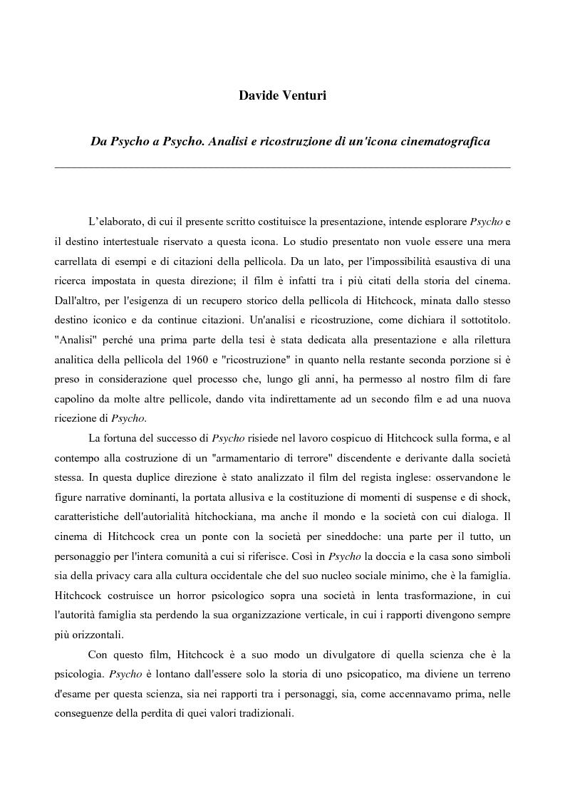 Anteprima della tesi: Da Psycho a Psycho. Analisi e ricostruzione di un'icona cinematografica, Pagina 1