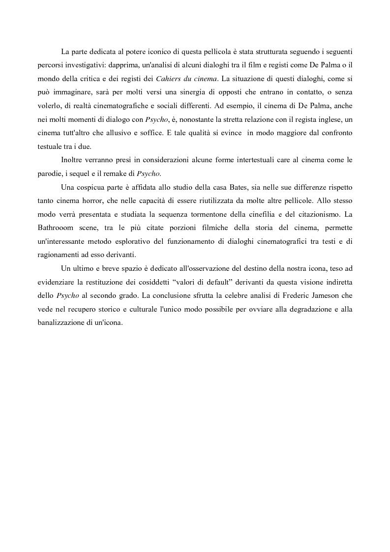 Anteprima della tesi: Da Psycho a Psycho. Analisi e ricostruzione di un'icona cinematografica, Pagina 2