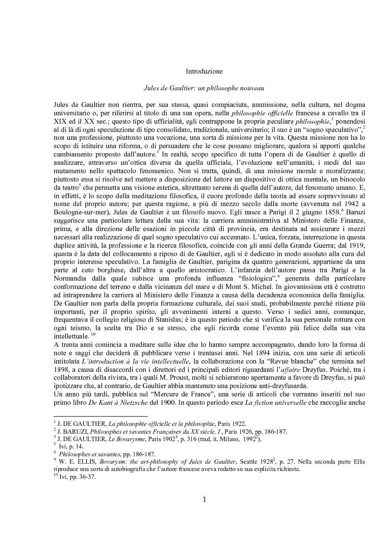Anteprima della tesi: Jules de Gaultier : la filosofia del bovarismo. Un philosophe nouveau nella cultura francese del primo Novecento, Pagina 1