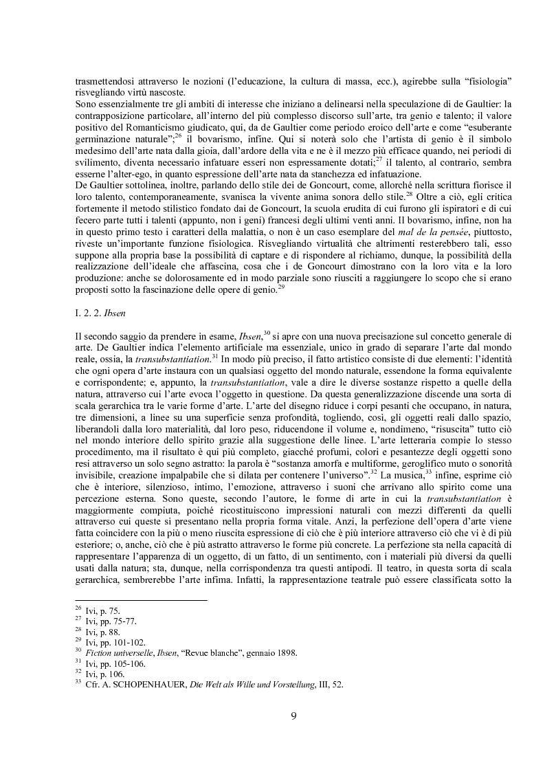 Anteprima della tesi: Jules de Gaultier : la filosofia del bovarismo. Un philosophe nouveau nella cultura francese del primo Novecento, Pagina 9