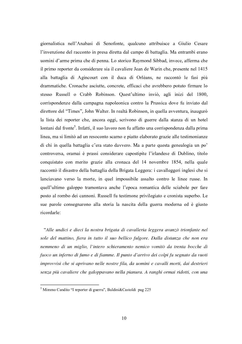 Anteprima della tesi: Professione reporter di guerra: da Russell ad Al-Jazeera storie, analisi ed evoluzione di un mestiere difficile, Pagina 10