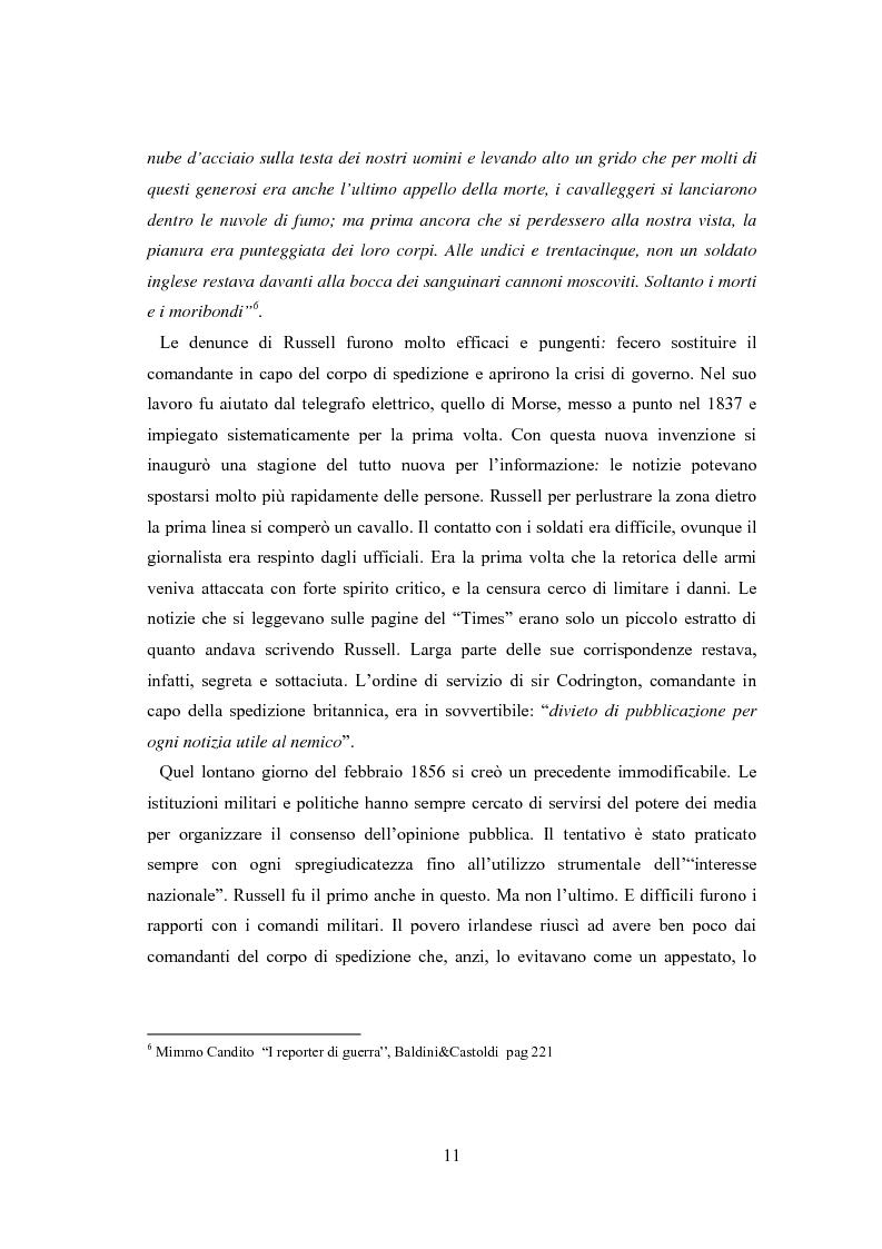 Anteprima della tesi: Professione reporter di guerra: da Russell ad Al-Jazeera storie, analisi ed evoluzione di un mestiere difficile, Pagina 11