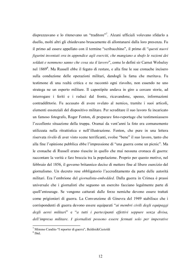 Anteprima della tesi: Professione reporter di guerra: da Russell ad Al-Jazeera storie, analisi ed evoluzione di un mestiere difficile, Pagina 12