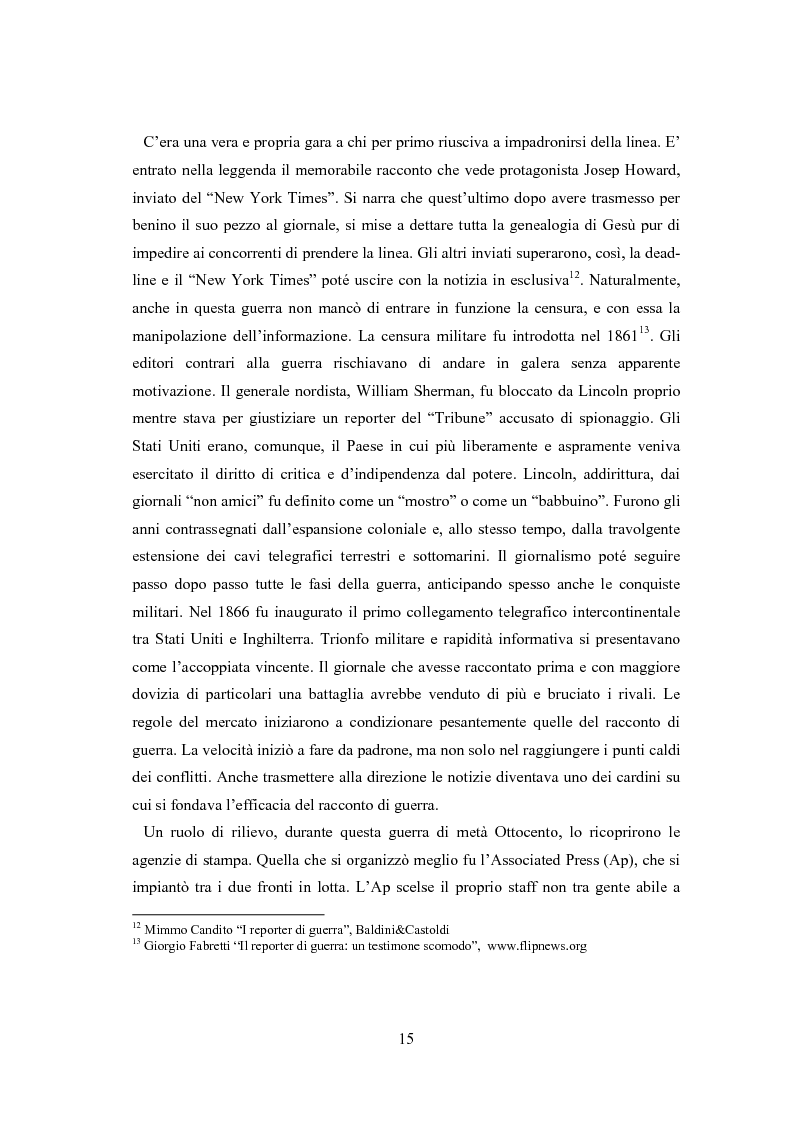Anteprima della tesi: Professione reporter di guerra: da Russell ad Al-Jazeera storie, analisi ed evoluzione di un mestiere difficile, Pagina 15