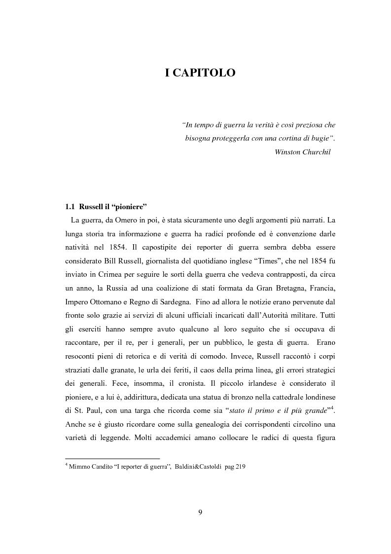 Anteprima della tesi: Professione reporter di guerra: da Russell ad Al-Jazeera storie, analisi ed evoluzione di un mestiere difficile, Pagina 9