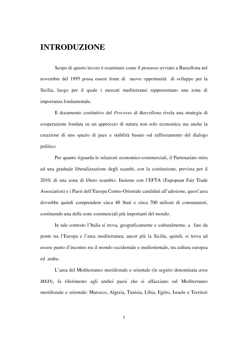 Anteprima della tesi: La Sicilia e le economie mediterranee - Prospettive in relazione al partenariato euromediterraneo, Pagina 1