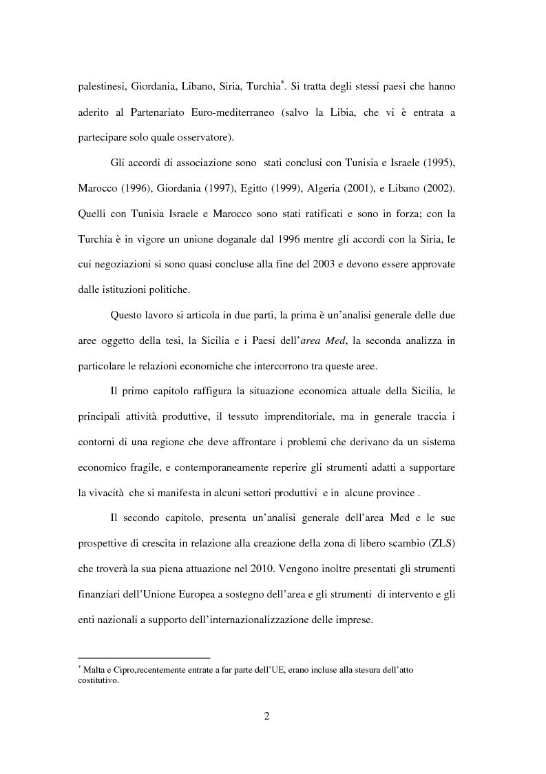 Anteprima della tesi: La Sicilia e le economie mediterranee - Prospettive in relazione al partenariato euromediterraneo, Pagina 2