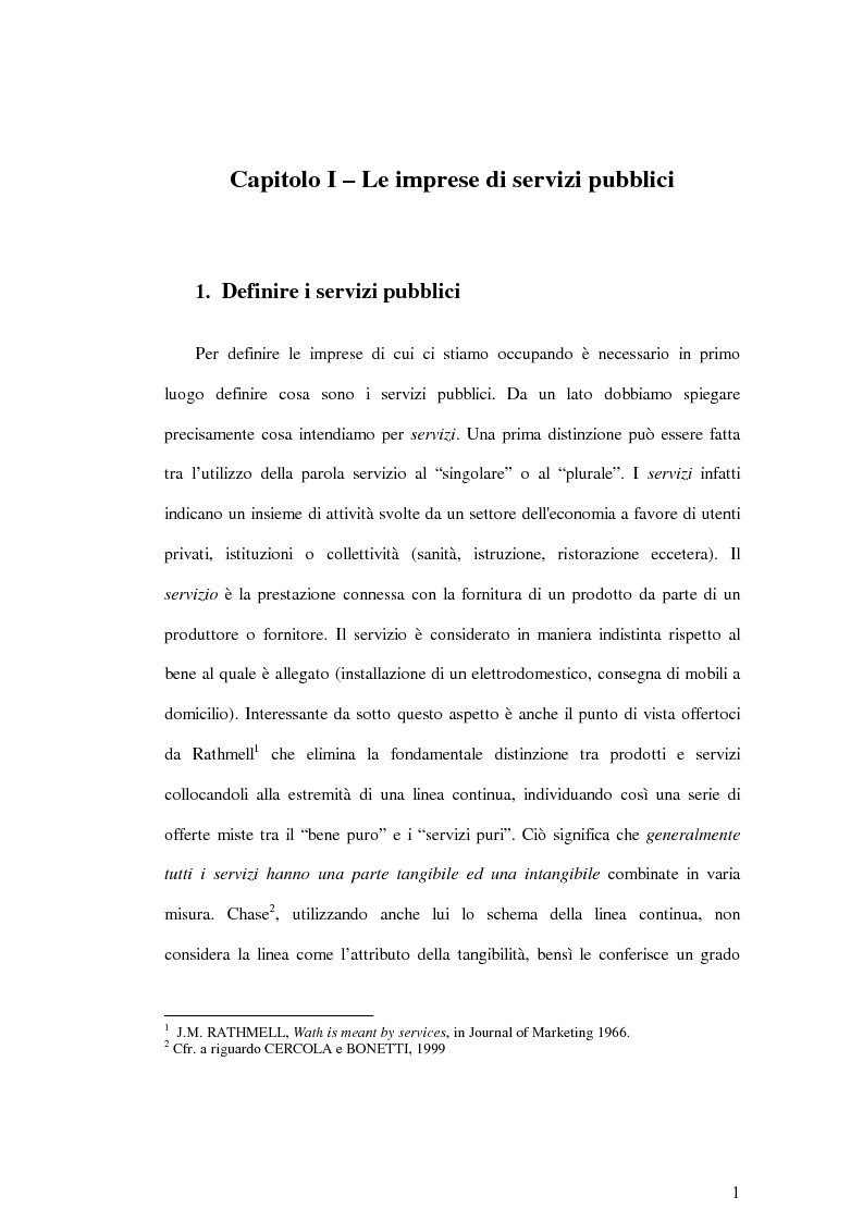 Anteprima della tesi: La soddisfazione del consumatore nelle imprese di pubblici servizi: il caso dei trasporti, Pagina 1