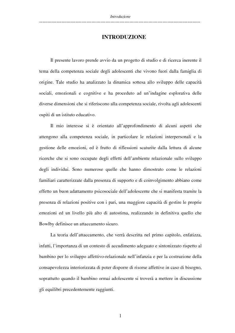 Anteprima della tesi: Adolescenti allontanati dalla famiglia: tra disagio e capacità di ''resilienza'', Pagina 1