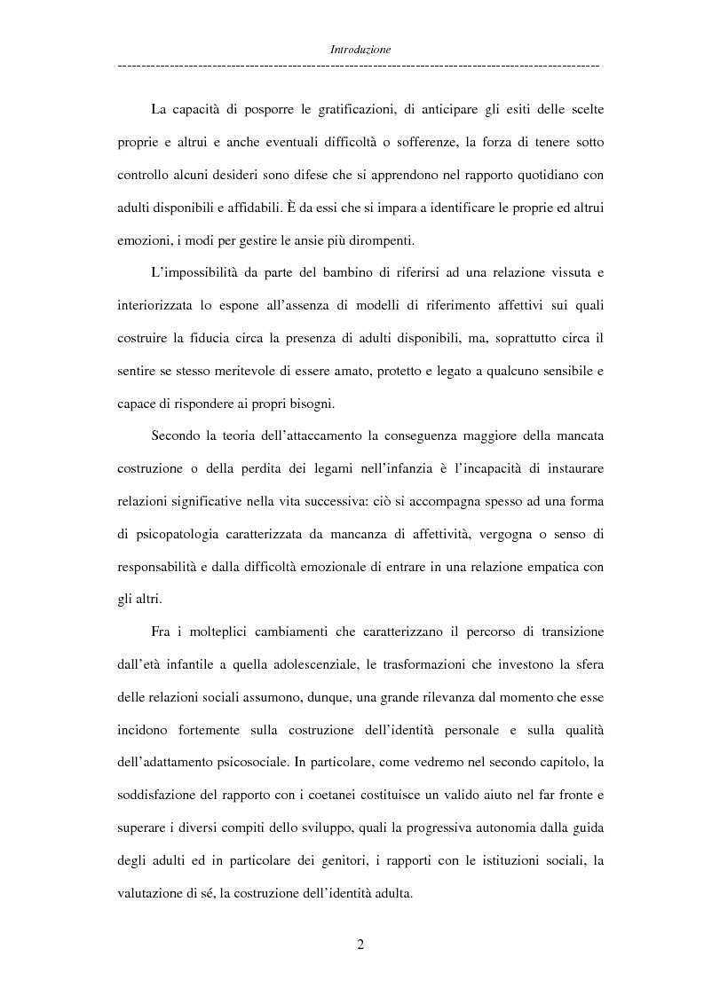 Anteprima della tesi: Adolescenti allontanati dalla famiglia: tra disagio e capacità di ''resilienza'', Pagina 2